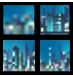 Set of abstract blur night city backgrounds vector