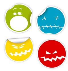 Set of Halloween smiles labels vector image