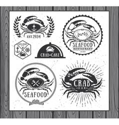 set vintage seafood labels badges and design vector image