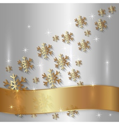 Silver Plate with Snowflakes and Golden Ribbon vector