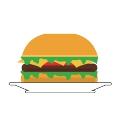 single hamburger on plate icon vector image