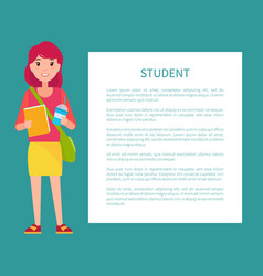student girl in cartoon style smiling woman book vector image