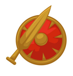 sword and shield isolated medieval weapon knight vector image