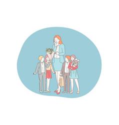 teacher day school pupils teacher with vector image