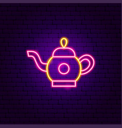 teapot neon sign vector image