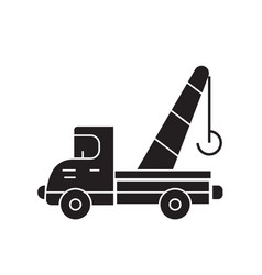 towing truck black concept icon towing vector image