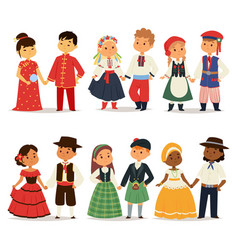 Traditional kids couples character of world dress vector