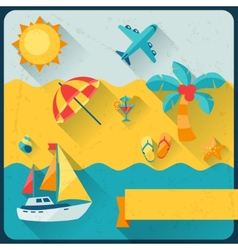 Travel and tourism background in flat design style vector image