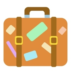 Travel suitcase with stickers icon cartoon style vector image