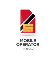 Trinidad mobile operator sim card with flag vector