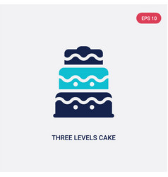 Two color three levels cake icon from bistro and vector