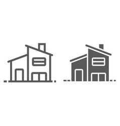 two storey house line and glyph icon real estate vector image