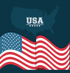 usa flag waving map country stamp design vector image