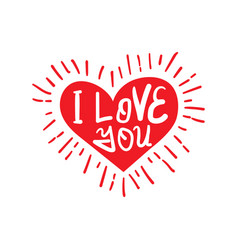 valentine qoute i love you with heart vector image