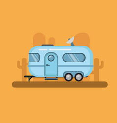 Vintage travel trailer airstream camper in desert vector