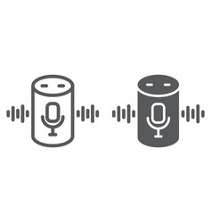 Voice assistant line and glyph icon technology vector