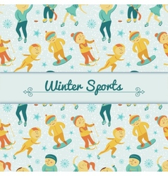 Winter Sports background with children vector