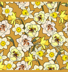 Yellow flowers daffodils with inflorescences vector