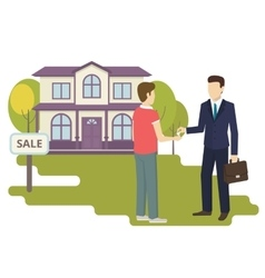 Young man is buying a new house vector image