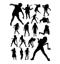 zombies horror halloween silhouettes vector image