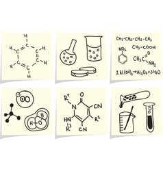 Chemistry and biology icons and formulas on yellow vector image