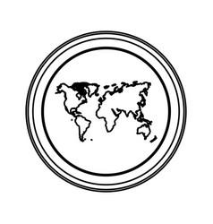 contour emblem earth planet map icon vector image