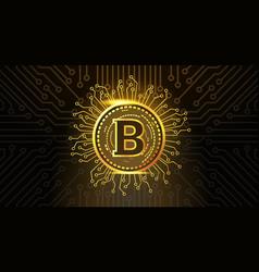 golden bitcoin crypto currency icon over dark vector image