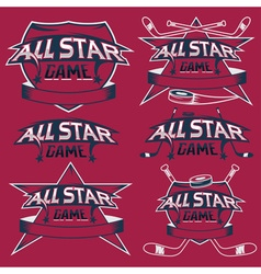 set of vintage sports all star crests with hockey vector image