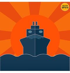 Ship on sunrise or sunset background EPS10 vector image