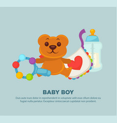 toys for newborn baby boy on promotional poster vector image