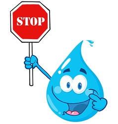 Water Drop Character Holding A Stop Sign vector image