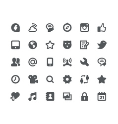 30 Social media network icons vector image vector image