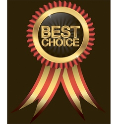 Best choice golden label with ribbons vector image