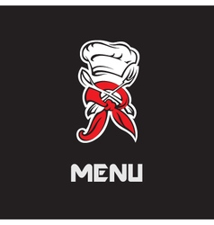 chef hat fork and spoon vector image vector image