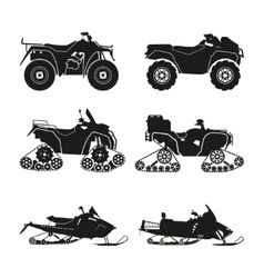 Collection of silhouettes of ATV vector image