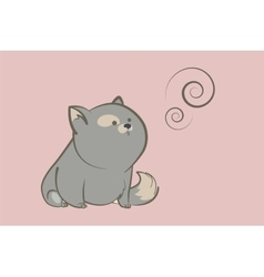 Fat gray cat and abstract rings vector