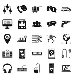 headset icons set simple style vector image