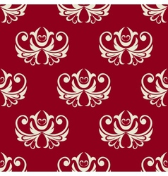 Maroon and white seamless floral pattern vector image