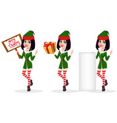 merry christmas and happy new year elf woman set vector image vector image