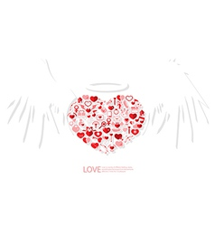 Red icon heart angel valentines day card with sign vector image