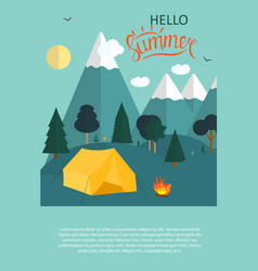 summer camping nature background in modern flat vector image