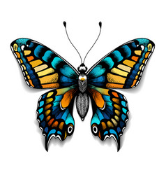 Tattoo tropical realistic butterfly with shadow vector