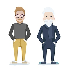 Two men one young one old vector image vector image