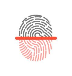 Black and pink half fingerprint shape icon vector