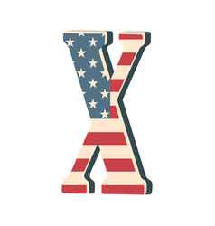 Capital 3d letter x with american flag texture vector