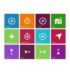 Compass icons on color background vector image
