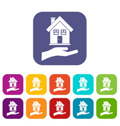 Hand holding house icons set vector