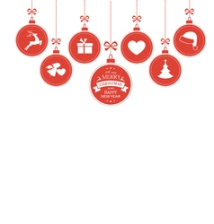 Hanging baubles with Christmas symbols vector image vector image