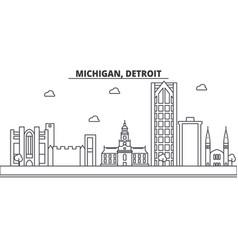 Michigan detroit architecture line skyline vector
