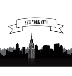 nyc sign urban city skyline silhouette travel usa vector image vector image